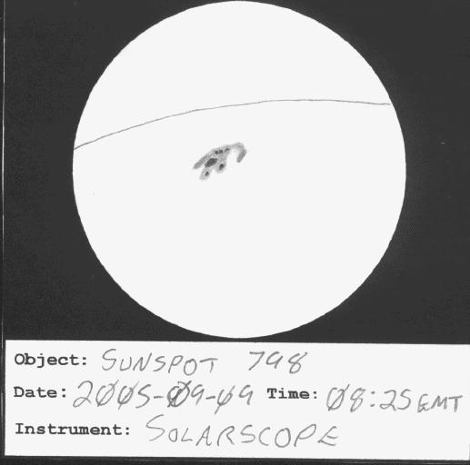 Sketch of Sunspot 798
