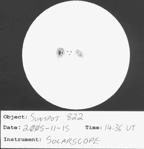 Sketch of Sunspot 822